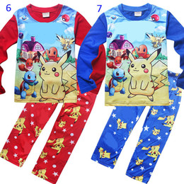 Conception De Vêtements Pour Enfants Pour Garçons Pas Cher-Poke go Pikachu 7 Design Boy Girl Pyjamas Free DHL enfants Cotton cartoon pocket monster long Sleeve + Pants 2pcs Vêtements bébé B001