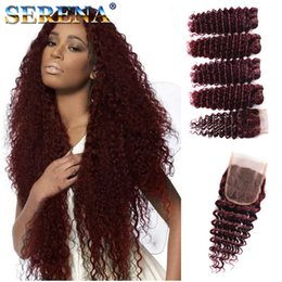 Discount kinky curl human hair bundles closure - MONOGOLIAN KINKY CURL 5Pcs Lot Peruvian 99J Deep Curly Hair Weft Burgundy Human Hair Bundles Deep Wave Wine Red Peruvian