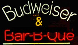 "neon sign sports bar UK - Budweiser Barbeque Neon Sign Handmade Custom Real Glass Tube Store Beer Bar Sport Game Room Club Advertising Display Neon Signs 17""X14"""