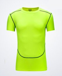 Yellow accessories online shopping - Tight fitting T shirt solid color breathable perspiration compression fitness clothing male sports short sleeved