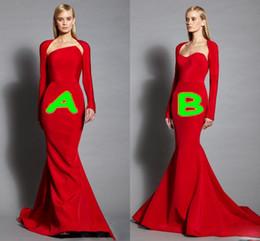 $enCountryForm.capitalKeyWord NZ - Elegant Red Strapless Evening Dresses With Long Sleeve Jacket 2017 Mermaid Floor Length Prom Dress Zipper Back Formal Party Dresses