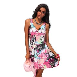 dresses designs polka dots 2019 - Wholesale- New Arrival Sexy Women's Colorful Printed Back Hollow Design Lady Summer Dress 4190 discount dresses des