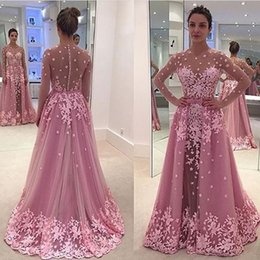 Robes De Soirée Florales Sexy Pas Cher-2016 Major perlage 3D Floral rose robes de soirée Jewel Illusion Encolure longue Sleeeves détachables tribunal train Zipper Buttons Prom Robes