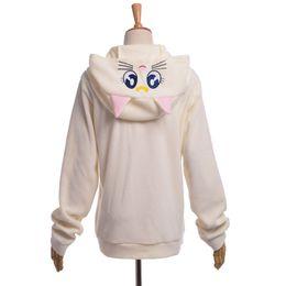 China Women Cute Cat Luna Zip Hoody Sailor Moon Cosplay Costume Cute Sweatshirt Hoodies White Purple High Quality suppliers