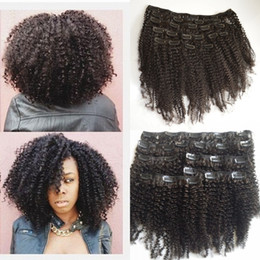 African American Hair Wholesale Australia - Peruvian Afro Kinky Curly Clip in Human Hair Extensions Bleached Knots for African American Black Women G-EASY