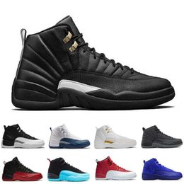 Barato Laço Preto Barato-2017 New Air Retro 12 Wool Black Nylon Basketball Shoes Homens Mulheres Sports Athletic Trainers Cheap Retro 12s OVO High Quality Sneakers