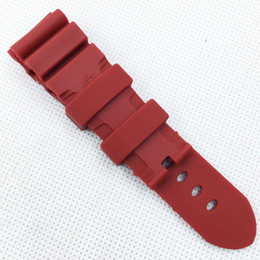 pam band strap UK - 24mm 120mm 75mm Fashion Red Silicone Rubber Water proof Sport Band Strap for PAM LUNMINOR RADIOMIR Watch 1314