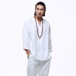 Linen kung fu shirt online shopping - Mens Pullover Linen Cotton Shirts Three Quarter Sleeve Mens Quality China Kung fu Shirts Solid Casual Cotton Shirts Men TS