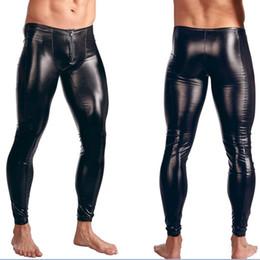 892b6a1feef Hot Sexy Men PVC Stage Dance Wear Faux Leather Pencil Pants Skinny Pants  Legging Gay Club Dance Wear