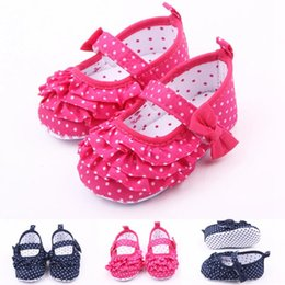 Hot pink flower girl shoes online shopping hot pink flower girl hot wholesale princess polka dots print flower bow hook loop strap first walker toddler baby girl shoes two colors free shippin mightylinksfo