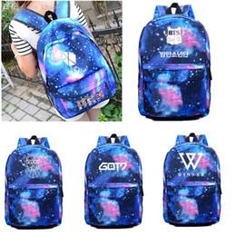 Starry Sky Backpack NZ - Wholesale-KPOP EXO BTS GOT7 VIXX Winner Bigbang Backpack Cute Cartoon Schoolbag Satchel Starry Sky
