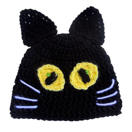 cat hat crochet NZ - Novelty Black Scary Cat Beanie,Handmade Knit Crochet Baby Boy Girl Animal Hat,Halloween Hat Costume,Infant Newborn Photography Prop