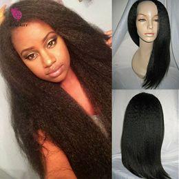 Silk Top Kinky Straight Wigs Canada - 2016Light Italian Yaki Silk Top Glueless full lace Wigs Yaki Straight Silk Base Wigs Virgin Brazilian Human Hair With Baby Hair