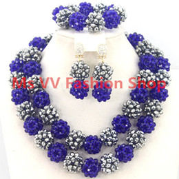 $enCountryForm.capitalKeyWord Canada - delicate jewelry sets blue Silver Jewellery Gemstone african Style Nigerian Wedding Crystal Beads Necklace Sets Party Women Gift G01