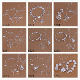Hot sale women's sterling silver jewelry sets 6 sets a lot mixed style EMS61,fashion 925 silver Necklace Bracelet Earring Ring jewelry set on Sale