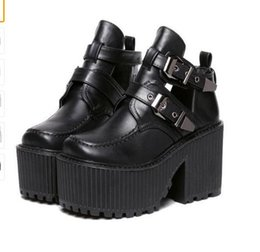 bikers boots UK - women chunky block high heel platform wedge heel shoes harajuku gothic cut out ankle boots Botas Femininas creepers biker shoes