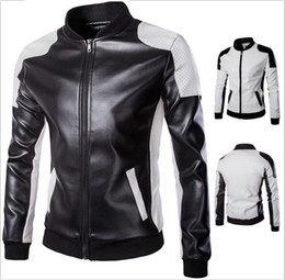 $enCountryForm.capitalKeyWord NZ - 5XL Plus Size Mens Leather Motorcycle Jackets Autumn PU Personalize Stand Collar Overcoat For Men Patchwork Cardigan Jacket Mens J160801