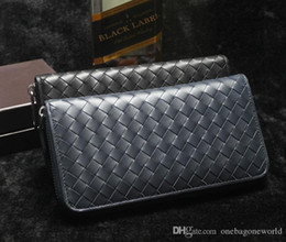 Big Long Wallets Canada - Free shipping new arrival high quality Man's blue Leather big bag long zipMen's genuine leather handbags card case genuine leather wallet