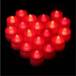 led tea light candle flicker NZ - LED Tealight Candles Flameless Tea Light Battery Operated Red Flickering Flicker LED Lights for Wedding Birthday Party Decoration 3.7*4.2 cm