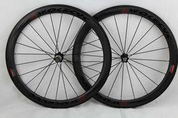 Großhandel Carbon Rennrad Räder schwarz Decals Basalt Bremsflächentiefe 50mm Drahtreifen Fahrrad Rennrad Laufradsatz 700C
