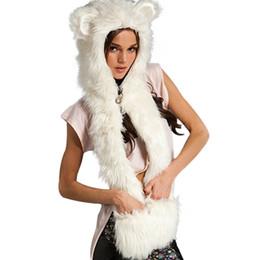 Hats Scarves Canada - Wholesale-Fashion Warm Winter Scarves Faux Animal Fur Hat Fluffy Scarf Shawl Glove Plush Cap Gloves Hats Xmas a2 Q1