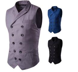 $enCountryForm.capitalKeyWord Australia - Sleeveless Vest Men Double Breasted Turn Down Collar Fake Pockets Design Solid Color Brief Slim Fit For Man Dress Vest Business Free Ship