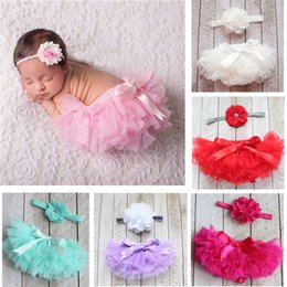Barato Bloomers Do Laço Do Chiffon-Estilo Europeu Baby Tulle Lace PP Calças Infant Toddlers Chiffon Bloomers Crianças Fralda Pants + Matching Headbands Two Piece Sets
