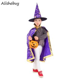 Robe De Fantaisie Pas Cher-Kids Cosplay Dress Cover Up Stars Cape Cape Witch Hat Ensemble de costumes magiques Girls Boys Children Fancy Halloween Galaxy Print Poncho SVV031174