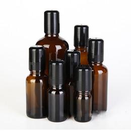 Roller Perfume Bottles 15ml UK - 5ml 10ml 15ml 20ml 30ml 50ml 100ml Amber Glass Bottles with Glass Stainless Roller+Black Lid,Roll-on Essential Oil Perfume Bottles Deodorant