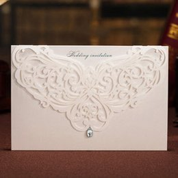 Diamond Invitation Cards Canada - Classic White Paper Cut Bling Diamond Wedding Invitations Cards, By Wishmade, CW3129