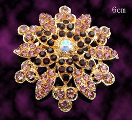 Flower Shape Brooches Canada - Wholesale Women fashion Gold plated flower shape Zinc alloy rhinestone brooches jewelry Free shipping 12pcs lot Mixed colors BH761