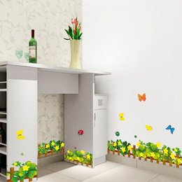Baseboard Stickers Canada - Clover fence removable wall stickers living room bedroom hallway bathroom baseboard waistline decorated AY926