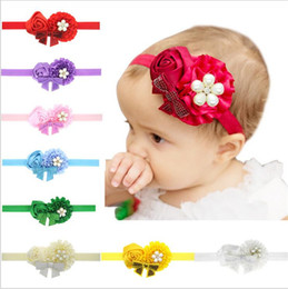 Barato Rosetas De Headbands Do Bebê-Baby Girls Headbands arcos infantes Hairbands Recém-nascido Baby Headbands Flores Crianças Acessórios para cabelo infantil tecido de rosáceo de cetim Bandas KHA144