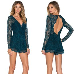 Mini Combinaisons En Dentelle Pas Cher-2016 Sexy Lace Romper Bandage Short Jumpsuit Hollow Shorts Manteau Slimming Noir Sexy Club Floral Party Femmes Mini Jumpsuits