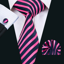 classic silk NZ - Classic Silk Mens Neckties Stripes Tie Sets Pink Tie for Men Tie Hankerchief Cufflinks Set Jacquard Woven Business Wedding Party Gift N-1403