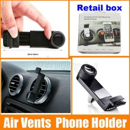 Wholesale Cheapest Universal Portable Adjustable Mobile Phone Holder Car Air Vent Mount for Samsung Galaxy S7 edge Note iPhone Plus GPS retail box