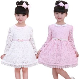 $enCountryForm.capitalKeyWord NZ - 2016 sweet dress for a girl Baby kids Girls Fairy Princess Wedding Party dresses Flower Belt Lace Gown cute vestidos hot selling beach set