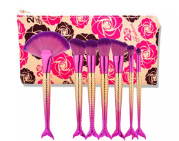 $enCountryForm.capitalKeyWord UK - HOT Mermaid Makeup Brushes for Foundation Powder 7 pcs Contour Fish Scales Multipurpose Rainbow Cosmetic Brush Sets Kits with Bag