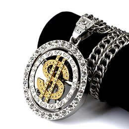 $enCountryForm.capitalKeyWord NZ - Top High quality women Mens Hip hop Rapper classic turn US USD Dollar Round Pendants Rock USD Pendants Snake Chain Necklaces jewelry