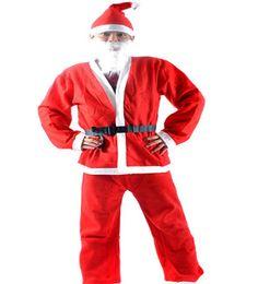 Alta Qualidade De Pelúcia Adulto Conjunto De Traje De Natal (5 pcs em um conjunto terno) roupa de Papai Noel homens roupas de Natal Xmas Cosplay roupas LIVRE DHL em Promoção