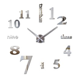 mirror watches NZ - Wholesale-2016 3d clocks horloge watch sale new diy acrylic mirror wall clock Home Decoration Quartz Modern Living Room free shipping