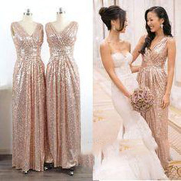 cheap wedding dresses champagne color Canada - 100% Real Pictures Bridesmaid Dresses Cheap Sequins Sleeveless Pleated Floor Length Custom Made Wedding Party Dresses Champagne Gold Silver