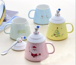 Porcelain coffee cuPs sPoons online shopping - New Breakfast milk cup lovable pottery and porcelain Christmas coffee cup Cover with spoon