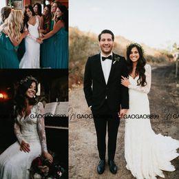 $enCountryForm.capitalKeyWord Canada - Berta Vintage Lace Country Boho Long Sleeve Sheath Wedding Dresses 2019 Plus Size Pregnant V-neck Cheap Bohemian Wedding Bridal Dress