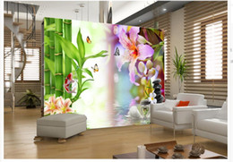 Discount bamboo painted wall rooms - customized wallpaper for walls Stone lily bamboo wall TV wall modern living room wallpapers mural painting photos