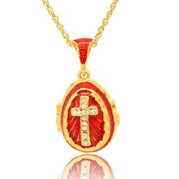 Gleamy jesus cruz ovo pingente de esmalte cor de esmalte ovo russo pingente medalhão colar para o festival de páscoa venda por atacado