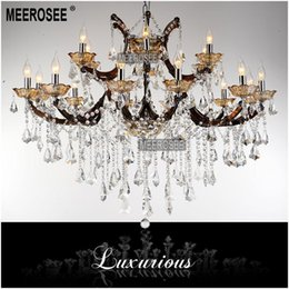 Chinese  Modern 18 Lights Large Coffee color Crystal Chandelier Light Fixture, Coffee chrystal Lamp for Hotel, Restaurant, Lobby, Foyer MD8662 manufacturers