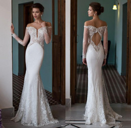 China Berta Off the Shoulder Mermaid Wedding Dresses Plunging V Neck Illusion Long Sleeves Lace Sexy Open Back Trumpet Bridal Gowns cheap trumpet wedding dresses lace v back suppliers