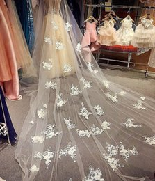 long beautiful veils 2019 - Beautiful Lace One Layer Wedding Veils With Comb 300 cm Long Wedding Headpieces Appliques Hair Accessories cheap long be