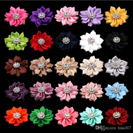 Hair Angles Canada - wholesale---The new ribbon 14 Angle with Rhinestone buckle DIY tire hair accessories headdress flower 1584